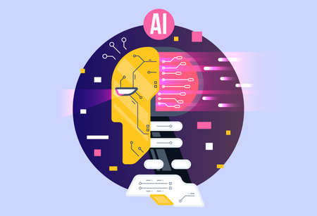 AI, artificial intelligence icon concept, brain with electronic neurons. Flat vector illustration. AI artificial intelligence and human intelligence Concept business illustration.