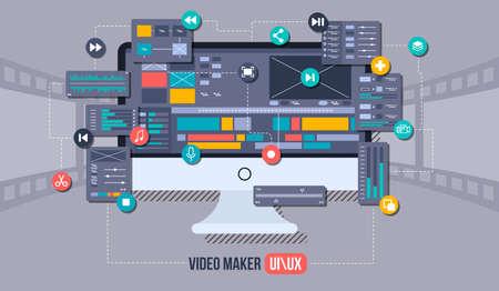 Concept de vecteur plat éditeur vidéo mobile. Studio de motion design, application de montage vidéo, création de vidéo en ligne. Illustration de la notion. Vecteurs