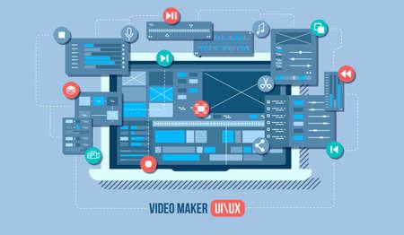 Concept de vecteur plat éditeur vidéo mobile. Studio de motion design, application de montage vidéo, création de vidéo en ligne. Illustration de la notion.