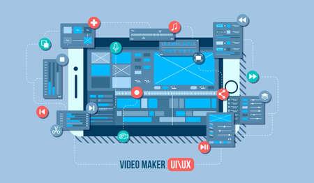 Mobile video editor flat vector concept. Motion design studio, video editor app, creating video online. Concept illustration.