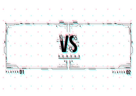 Versus screen design with HUD elements. Announcement of a two fighters. Battle banner match, vs letters competition confrontation. Futuristic design.