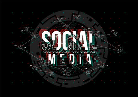 Social Media. Conceptual Layout with HUD elements for print and web. Lettering with futuristic user interface elements.