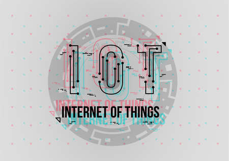IOT. Conceptual Layout with HUD elements for print and web. Lettering with futuristic user interface elements.