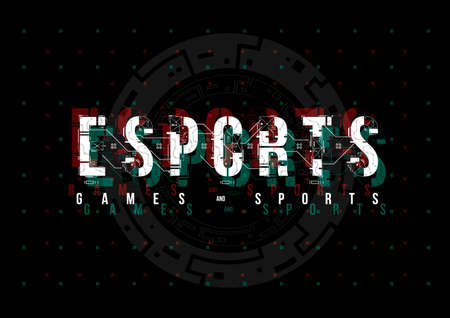 Esports. Conceptual Layout with HUD elements for print and web. Lettering with futuristic user interface elements. Иллюстрация