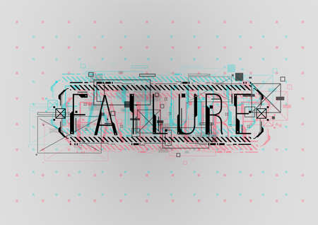 Failure. Conceptual Layout with HUD elements for print and web. Lettering with futuristic user interface elements.