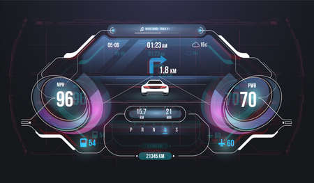 Speed hud kilometer performance indicators dashboard. Car Instrument Panel. Tachometer, Data Display and Navigation. Virtual graphical interface Ui HUD Autoscann. Virtual graphic.
