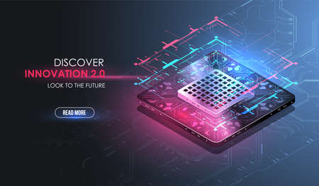 Microchip processor with lights effects. cybernetic system, futuristic computing technology. Analysis and scanning of the chip. CPU - big database, processing, rapid analysing. Hud interface.