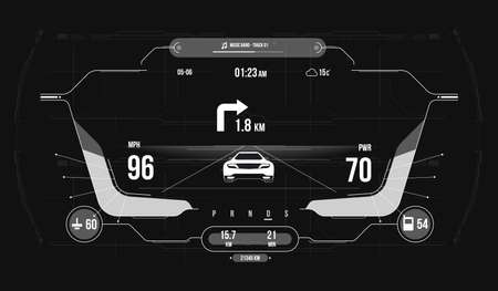 Cars infographic ui, analysis and diagnostics in the hud style. Modern sports car dashboard with navigation display. Cockpit of futuristic autonomous car. Ilustração