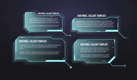 Étiquettes de barre de légende futuristes. Ensemble de modèle de cadre de science-fiction futuriste HUD. Modèles de mise en page de boîtes d'informations numériques.