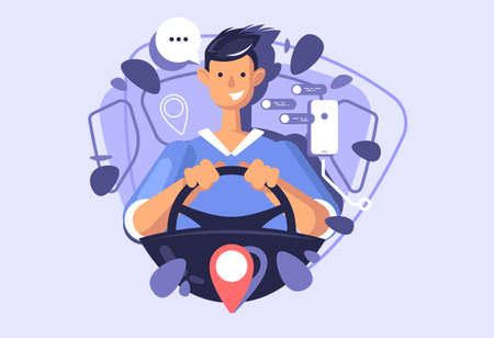 A young guy driving a car. Concept illustration of a carsharing or taxi service.