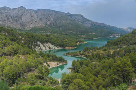 Mountain lake. Reservoir near Guadalest. Alicante. Spain.