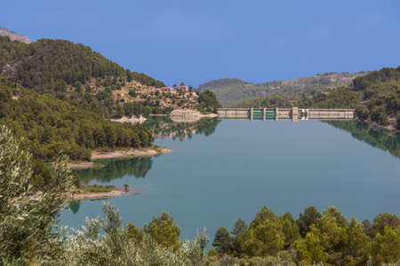 Panorama of the reservoir and dam near Guadalest. Alicante. Spain.