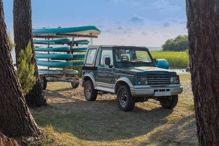 Trailer with kayaks and paddles Фото со стока