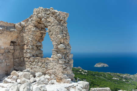 Seaview from ruins of Monolithos castle. Rhodes island. Greece