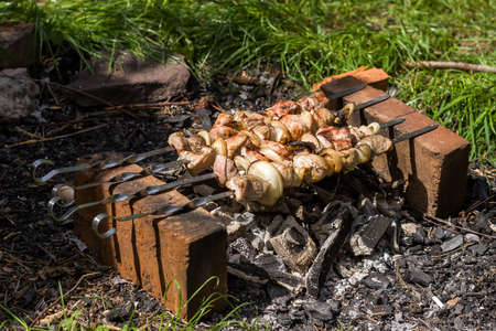 kabab: Kebab  or originally kabab  is a wide variety of meat dishes originating in Persia Stock Photo