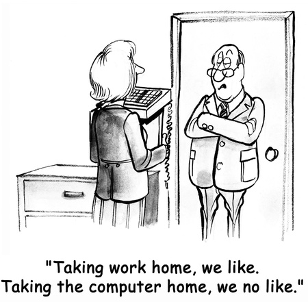 health cartoons: Employee request to working at home