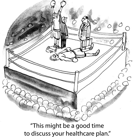 health cartoons: Boxing healthcare
