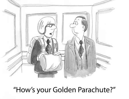 downsizing: a worker asks about a golden parachute  Stock Photo
