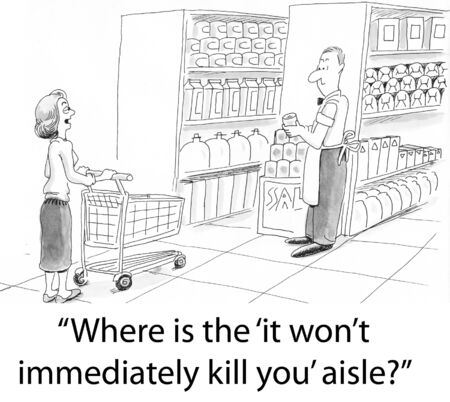A shopper looks for the health food aisle