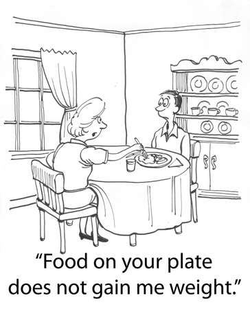 Food is not fattening on his plate