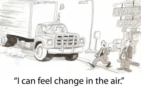 cartoons: Schritte vor der Lkw am ersten Tag