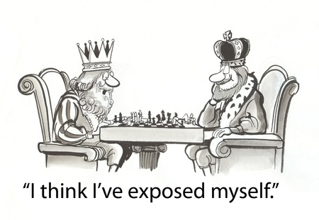 sceptre: king is concerned about bad chess move Stock Photo