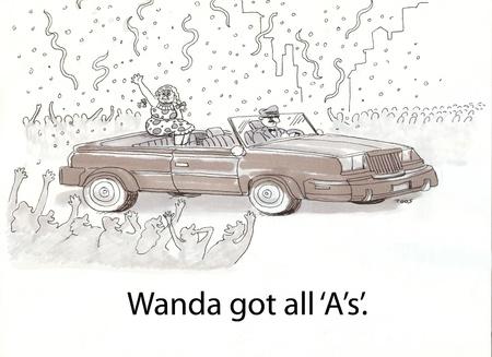 Wanda heeft een parade voor goede cijfers Stockfoto