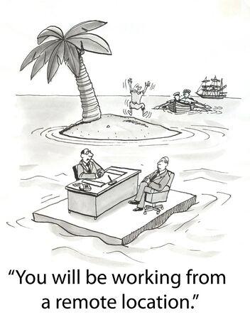 applicant to take job on deserted island Фото со стока