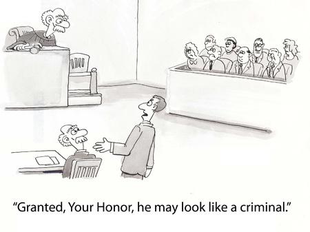 defendant: lawyer says defendant resembles judge Stock Photo