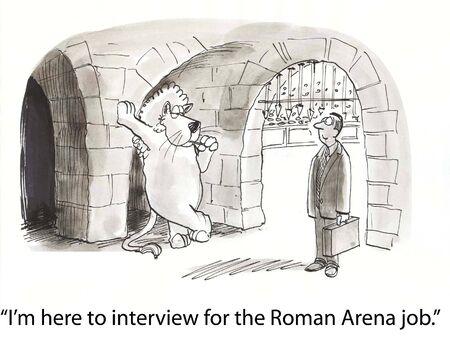 アリーナで申請者に挨拶するライオン