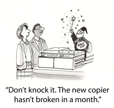 Merlin does magic spell on copier