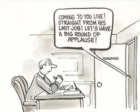 downsizing: job seeker makes big entrance Stock Photo
