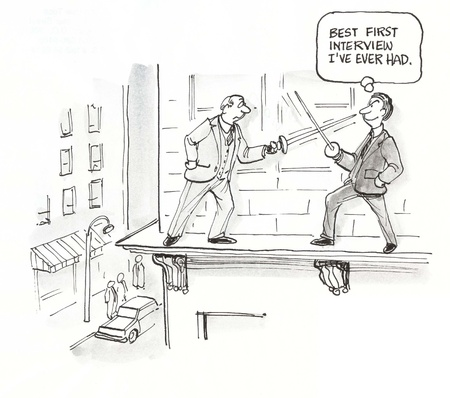delusion: two executives duel on ledge Stock Photo