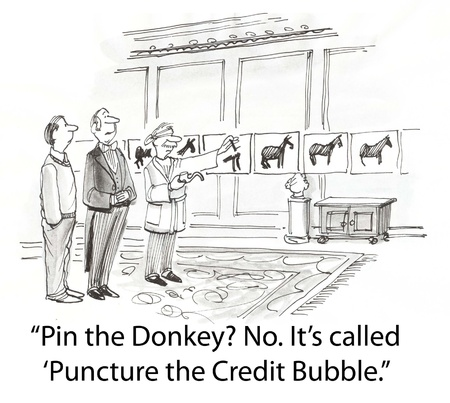 borrowing: credit bubble burst with pin Stock Photo