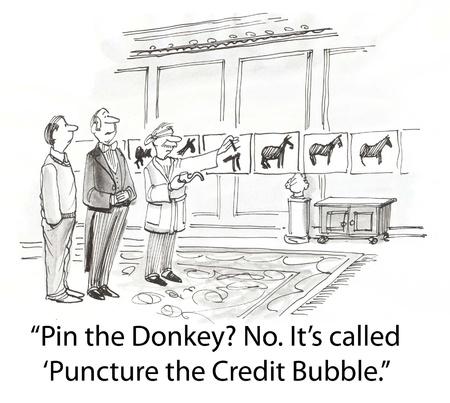 credit bubble burst with pin Фото со стока