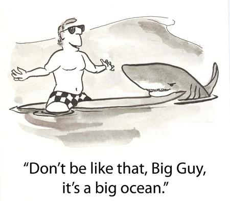 surfer makes deal with shark Reklamní fotografie