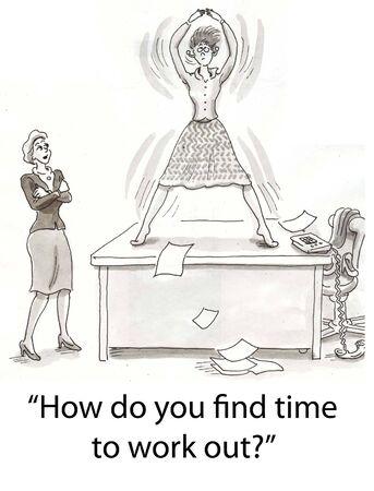 libro caricatura: mujer trabaja sobre el escritorio