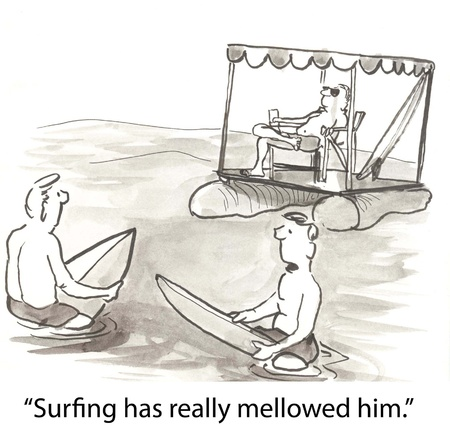 mellow: surfers envy their mellow partner
