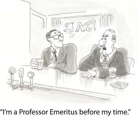 retired professors drinking at bar