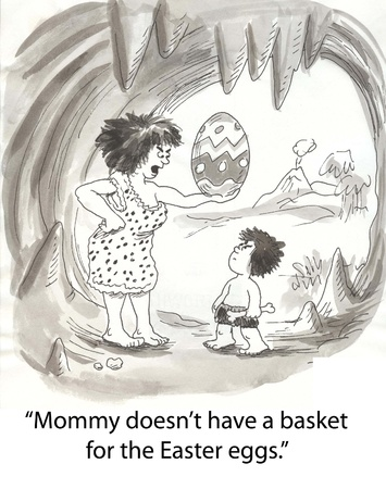 has: cavewoman has dinosaur egg for child Stock Photo