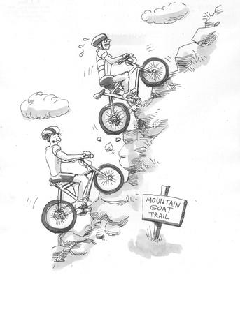 急な坂を上がっていくのサイクリスト 写真素材