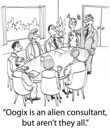 introduces: boss introduces an alien consultant
