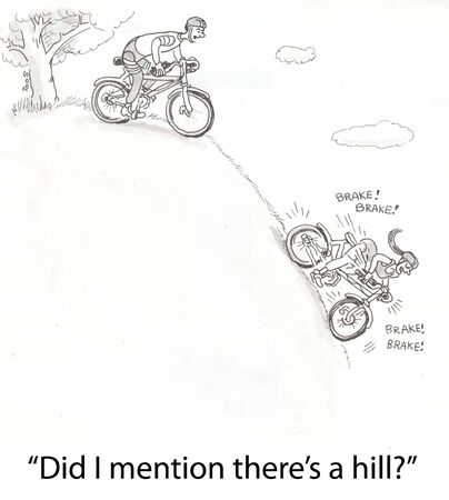 panicked: cyclists biking down extreme hill