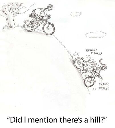 cyclists biking down extreme hill