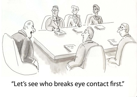 honest: boss makes eye contact with workers