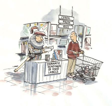 literary man: reading of labels in store