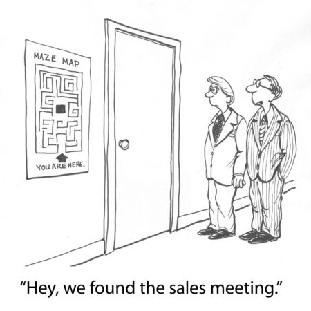 sales meeting: two workers track down boardroom