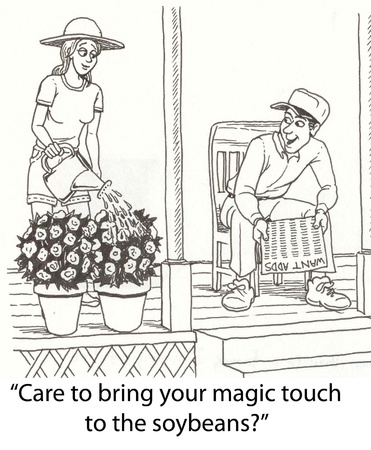 touch: woman has a touch for gardening