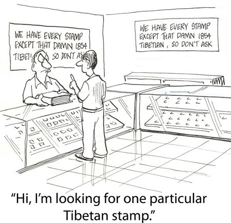 newspaper cartoons: buyer in stamp collecting store
