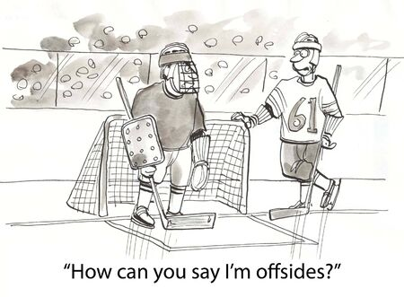 ice hockey player: hockey player speaks to goalie Stock Photo